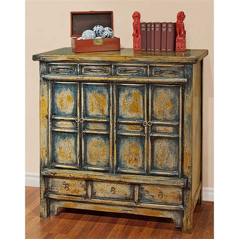 china furniture elmwood cabinet vintage crafted qing style distressed blue and yellow
