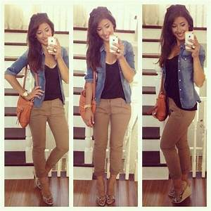 Khaki pants with black tank top and denim jacket. Cute with wedges | Work Wear | Pinterest ...