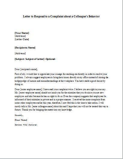 complaint respond letter  colleagues behavior