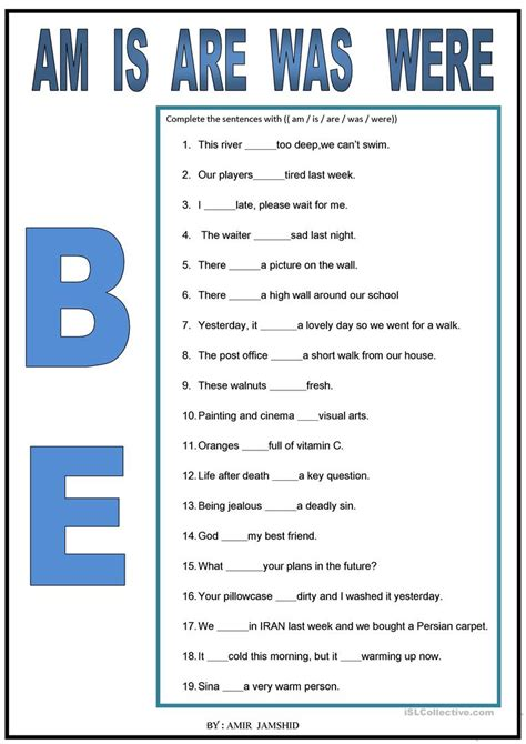 be am is are was were worksheet free esl