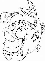 Fish Coloring Hooks Pages Bulb Funny Coloringonly sketch template