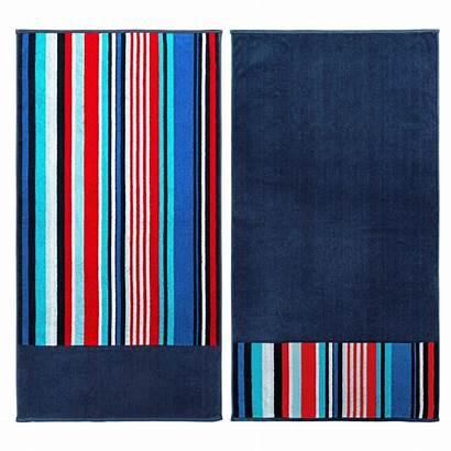 Towel Egyptian Cotton Nautical Superior Stripe Navy