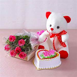 Six Pink Roses With Heart Shape Vanilla Cake And Cute ...