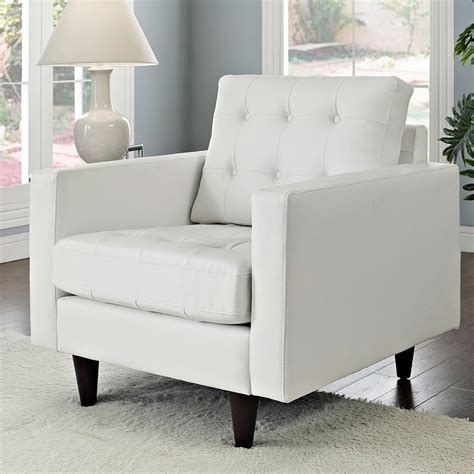 Modern Chairs  Enfield White Leather Chair Eurway