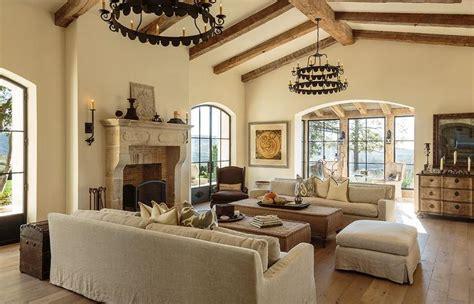 mediterranean living room  cathedral ceilings