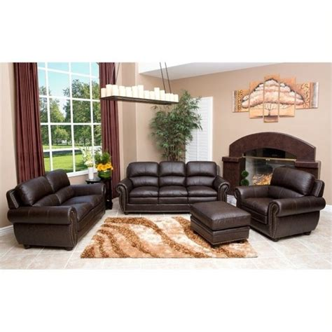 pemberly row 4 leather sofa set in brown pr 490239