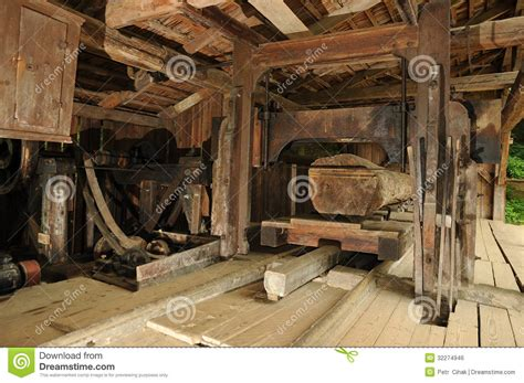 mill stock photo image  wood trunk cutting