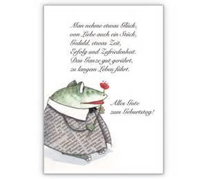 grußkarten sprüche nehme etwas glück geburtstagskarte mit frosch und blume grusskarten onlineshop