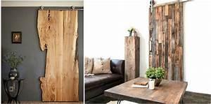 Porte coulissante suspendue de style grange ou moderne for Porte de garage avec porte interieur en bois massif