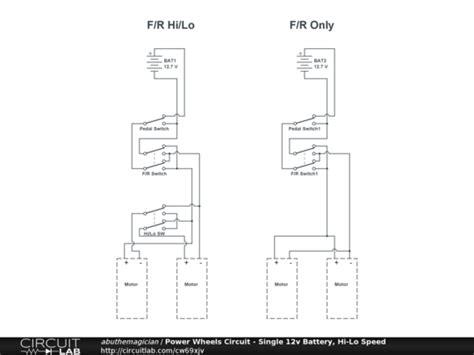 P B Wiring Diagram by Power Wheels Circuit Single 12v Battery Hi Lo Speed