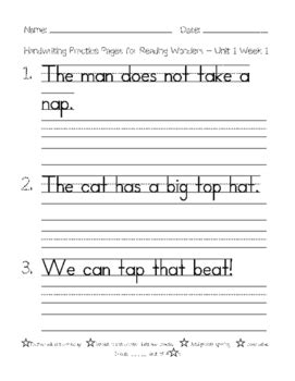 handwriting practice pages for 1st grade reading wonders spelling words unit 1 3