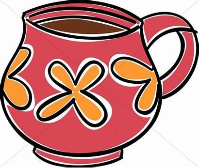 Coffee Clipart Mug Mugs Orange Cups Striped