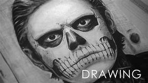 Tate Langdon skull face drawing. - YouTube