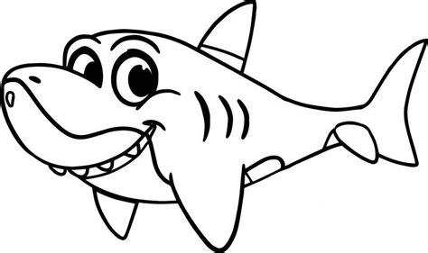 Cute Cartoon Shark Coloring Page Shark Coloring Pages
