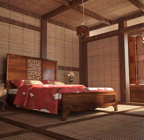 japanese bedroom beautiful rich woods strong