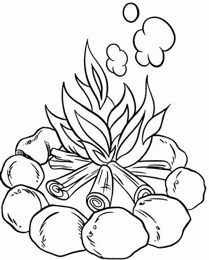 Coloring Campfire Camping Pages Fire Printable Preschoolers