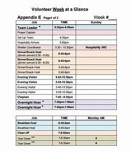 volunteer schedule template schedule template free With volunteer schedule template excel