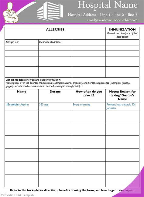 Medication List Template Medications List Template Ideal Vistalist Co
