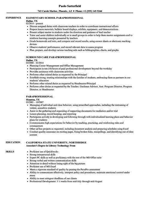 sample paraprofessional resume