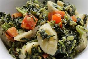 Callaloo With Green Bananas, Salted Cod And Simmered In ...