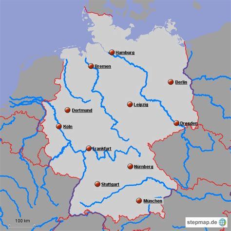 deutschland karte mit staedten und fluessen europakarte