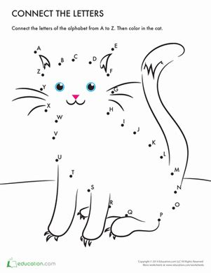 connect the dots for preschoolers printable connect the dots a z mr cat worksheet education 400