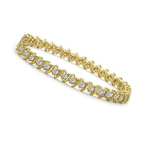 ct tw  link yellow gold diamond tennis bracelet