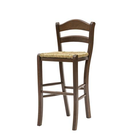 seduta sgabello sgabello alto country in legno color noce con seduta in paglia