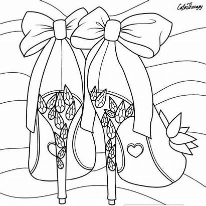 Coloring Shoes Pages Heels Adult Books Printable