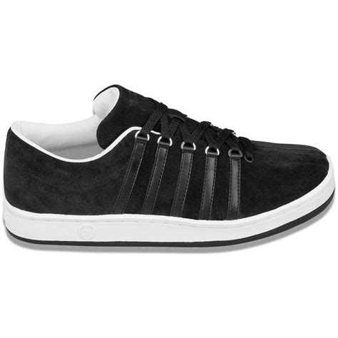 swiss mens  classic suede tennis shoe black white   tennis