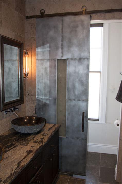 san diego penthouse zinc barn door industrial bathroom