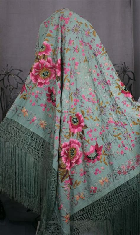 extraordinary embroidered celadon silk piano shawl