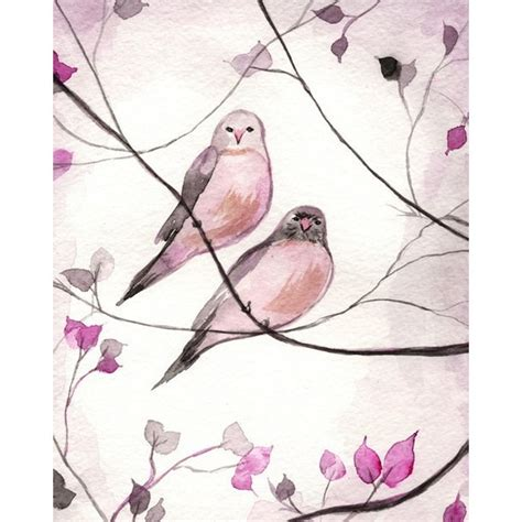 Love is in the Air / Pink and Grey Love birds / Watercolor ...