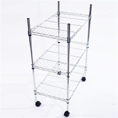 rolling shelf rack 34x24x14 quot 3 tier shelf adjustable wire metal shelving rack