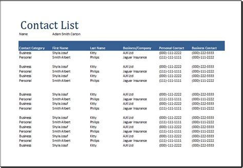 word comprehensive contact list template document