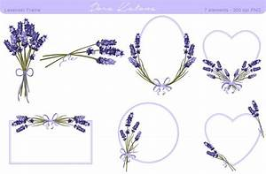 Lavender Flower Frame and Clipart ~ Graphics ~ Creative Market
