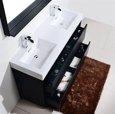 bliss  black double sink floor mount bathroom vanity