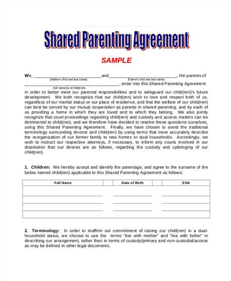 shared parenting agreement business template