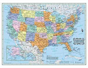 "USA United States Wall Map 22""x17"" LARGE PRINT Laminated"