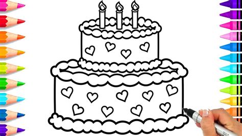 incredible birthday cake candles coloring page image