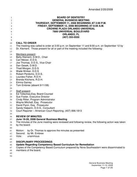 Meeting Minutes - Dentistry, Florida board of