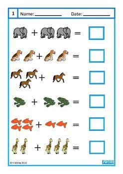 addition   worksheets autism  curriculum  autism tpt