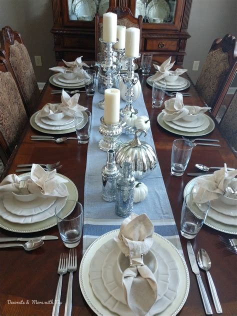 blue  silver budget friendly thanksgiving tablescape