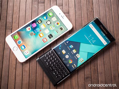 in pictures blackberry priv versus iphone 6s plus android central