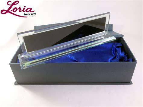 glass desk name plates name plate for desk engraved glass loria awards