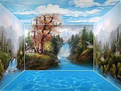 Pemandangan Gambar Lukisan Indah Alam Dimensi Yang