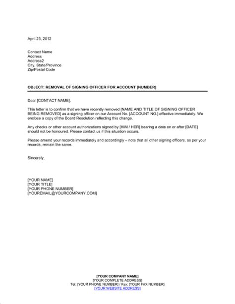 notifying bank  removal  signing officer template