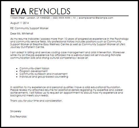 Cover Letter For Community Service Worker by Community Support Worker Cover Letter Sle Cover
