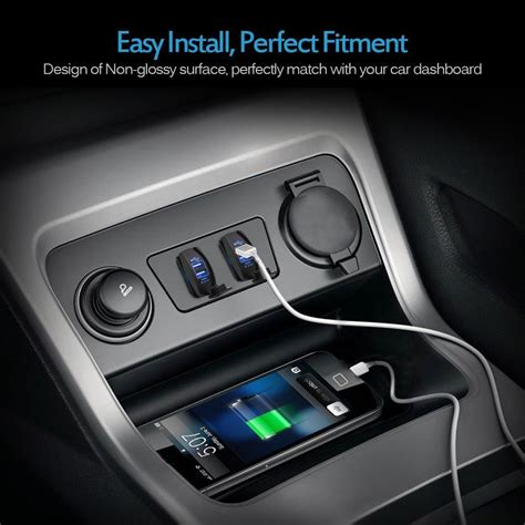 car dual usb sockets charger  blue led light