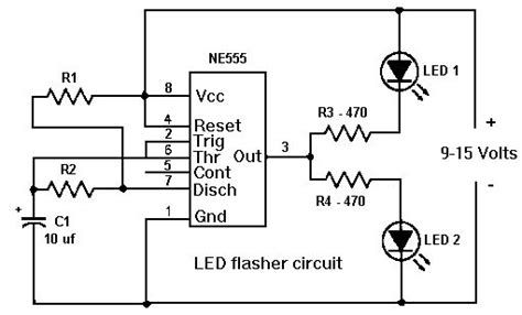 timer led flasher circuit electronics  technology